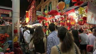Busy night market and MTR subway entrance, Chinatown, Singapore, South East Asia