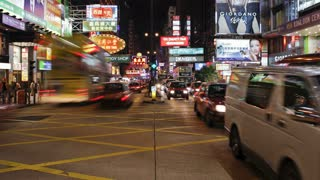 Busy Pedestrian crossing on Nathan Road, Kowloon, Hong Kong, China, T/lapse
