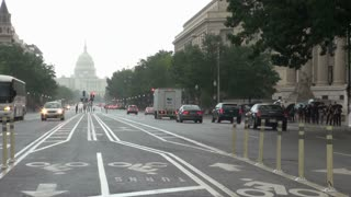 Busy Rainy DC Street with Capitol in Distance 2