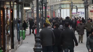 Busy Romanian Street Corner