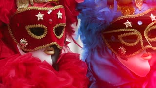 Canival in Venice, couple disguised  as twins with feathers in red and blue. Video effect of particles in the  air.