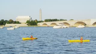 Canoes Along Potomac By Memorial