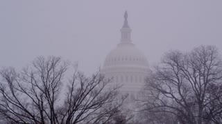 Capitol Building Dome During Winter Storm