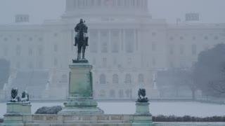 Capitol Building Statue Snowy Haze