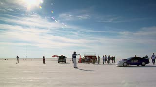 Car Takes Off On Bonneville Salt Flats