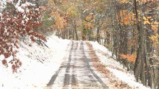 Car Tread Marks Through Snow