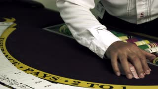 Card Shuffling Trick at Casino with Gambling Chips