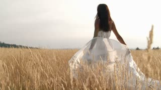 Beautiful African American woman swaying in field