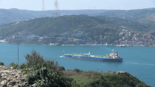 Cargo Ship Entering Cool Blue Bosphorus