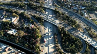 Cars And Trucks On Freeway Aerial