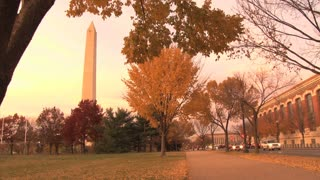 Cars Driving By Washington Monument