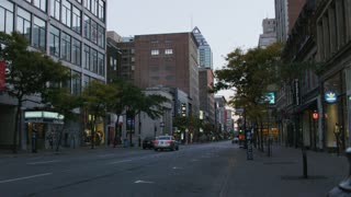 Cars Driving in Downtown Montreal