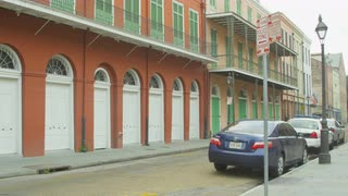 Cars Parked Along Colorful Side Street, New Orleans