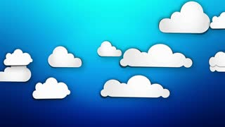 Cartoon Paper Clouds on blue background Loop Animation - 4K Resolution Ultra HD UHD