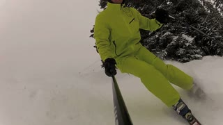 Carving and skiing down the mountain