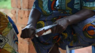 Carving Cassava With Knife