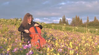 Cellist Playing Music in Field of Flowers