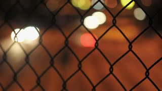 Chain Link Fence Bokeh Lights