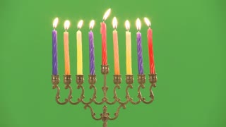 Hanukkah candles green screen