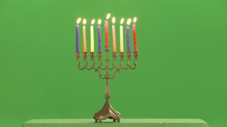 Hanukkah menorah with candles green screen