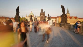 Charles Bridge (Karluv Most) Prague, Czech Republic, with the Old Town in the  background -T/Lapse