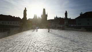 Charles Bridge over the River Vitava, Prague, Czech Republic, Europe - T/lapse