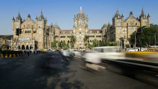 Chhatrapati Shivaji Terminus (Victoria Terminus), completed in 1887 today it is the busiest train station in Asia, Mumbai, Maharashtra State, India, South East Asia