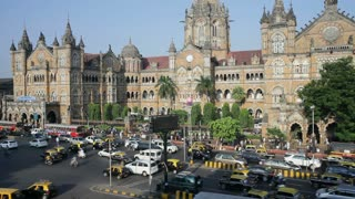 Chhatrapati Shivaji Terminus Victoria Terminus, completed in 1887 today it is the busiest train station in Asia, Mumbai, Maharashtra State, India, South East Asia