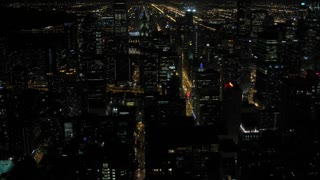 Chicago Night Skyline Timelapse 3. Chicago skyline at night. Shot in time-lapse, tilting up.