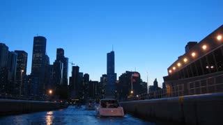 Chicago River Boatride Timelapse. Riding into Chicago on a boat, shot in time-lapse at dusk.