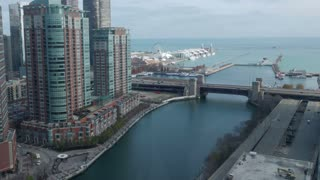 Chicago River Navy Pier Time Lapse. View of the mouth of the Chicago River and Navy Pier from a high vantage point during a lovely autumn morning, shot in time lapse.