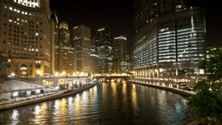 Chicago River Night Timelapse