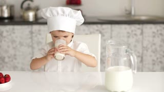 Child drinks milk tasty