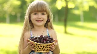 Child holding a basket of cherries in the hands