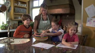 Children Help Their Mother Mix Ingredients 5