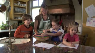 Children Help Their Mother Mix Ingredients 6