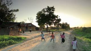 Children Playing in the Dirt Road in Kenya