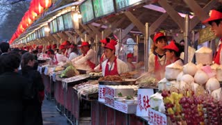 China, Beijing, Wangfujing Street, Snack Street Market selling traditional food