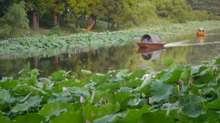 China Boats on Lotus Lake