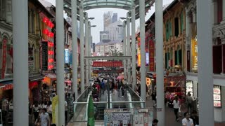 Chinatown, Busy night market and MTR subway entrance, Singapore, South East Asia,
