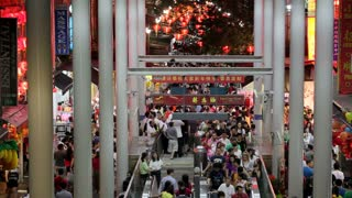 Chinatown, Busy night market and MTR subway entrance, South East Asia, Singapore,