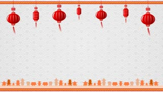 Chinese Art Background And Red Lantern With Moving Border With Copy Space And Loop