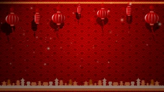 Chinese Art Background And Red Lantern With Moving Border With Copy Space And Loop 002