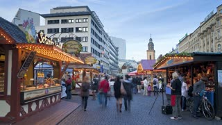 Christmas market at dusk, filled with tourists, Frankfurt am Main, Hessen, Germany, Europe, T/Lapse