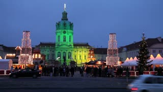 Christmas market at Schloss Charlottenburg, Charlottenburg Castle, illuminated at night, Berlin, Germany, Europe