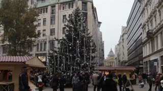 Christmas Tree In Downtown Budapest
