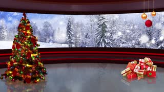 Christmas TV Studio Set 02 - Virtual Green Screen Background Loop