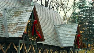 Christmas Wreaths Hanging on Roof
