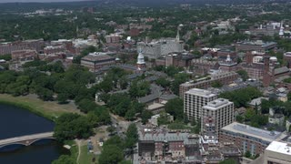Cinematic Aerial Crash Zoom Into Harvard University Campus, Boston, Massachusetts