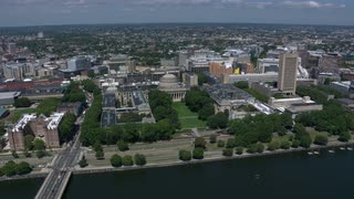 Cinematic Panning Shot From Helicopter Over Mit Campus, Cambridge, Massachusetts
